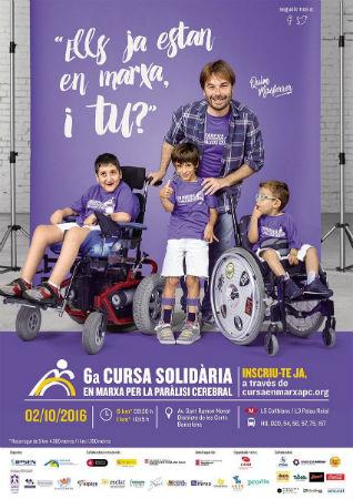cartell cursa solidària en marxa per la paràlisi cerebral