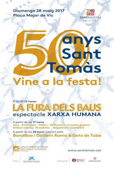 cartell celebració festa 50 anys sant tomàs