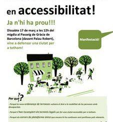 cartell manifestació accessibilitat carrers barcelona