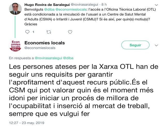 La Diputació de Barcelona, discrimina les persones amb trastorns mentals?