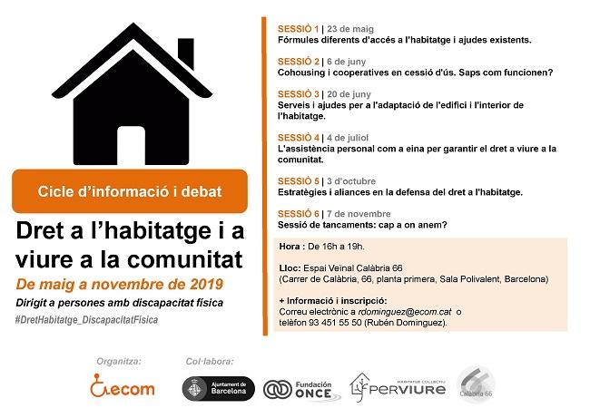 Sessió sobre 'cohousing' i cooperativisme en cessió d'ús de l'habitatge per persones amb discapacitat física