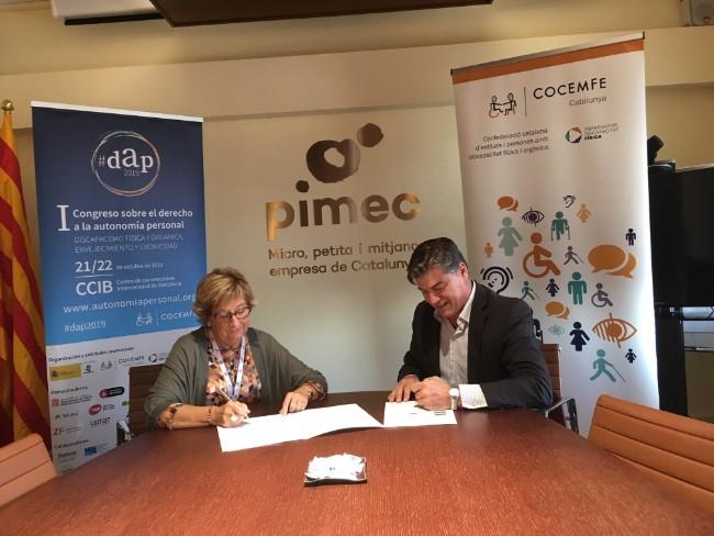 cocemfe-catalunya-associa-pimec-integració-laboral-persones-discapacita