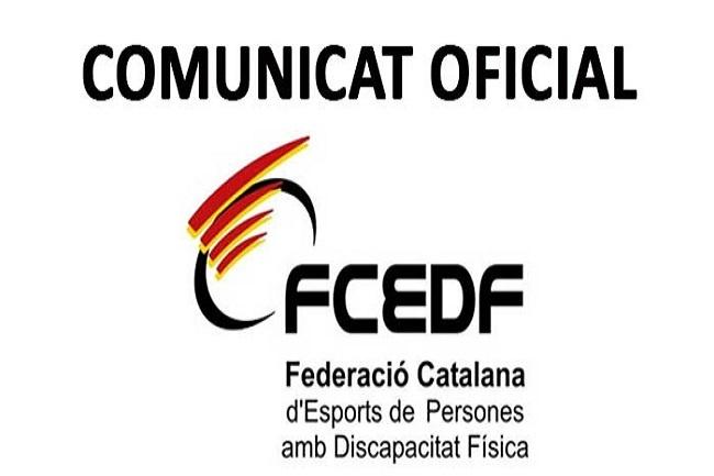 La FCEDF decreta l'aplaçament indefinit de totes les competicions i activitats que organitza pel COVID-19