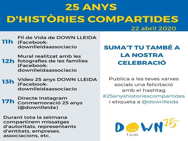 Down Lleida organitza una celebració virtual del seu 25è aniversari a les xarxes socials