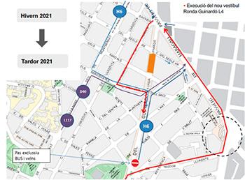 Planol afectacions mobilitat obres intercanviador maragall