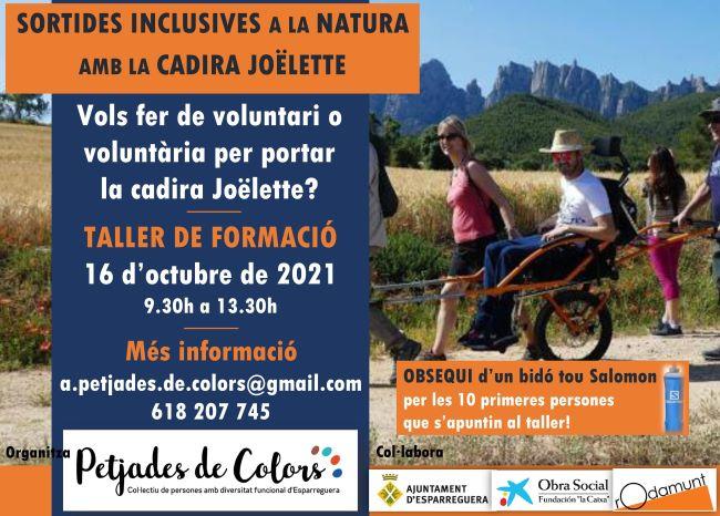 cartell taller formacio cadira joëlette petjades de colors